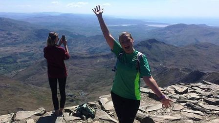 Emma Salter afterf her run to the top of Mount Snowdon