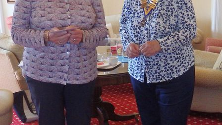 Linda Archard, of the Sid Valley Memory Cafe, with Hilary Hatherley, president of the Inner Wheel Cl