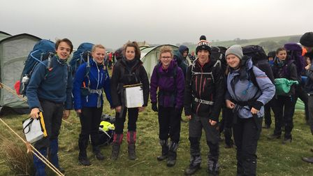 One of Sidmouth College's two 35 mile teams finish their tough course.