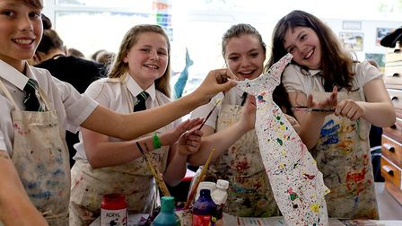 Sidmouth College students perpare an art installation for this year's Sidmouth Sea Fest. Picture: SA