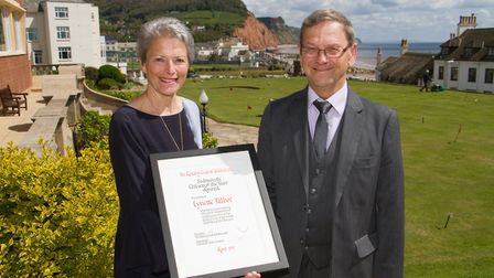 Lynette Talbot and Peter Endersby with the Sidmouth Citizen of the Year award. Ref shs 16 17TI 1752.