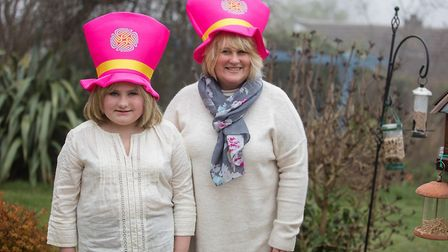 Charlotte and Anglea Reid wear their hats with pride on Brain Tumour Research's Wear A Hat Day.