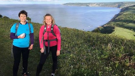 Sidmouth Running Club duo Jenny Bentley and Debbie Marriott during the Jurassic Coast 100k Ultra ev