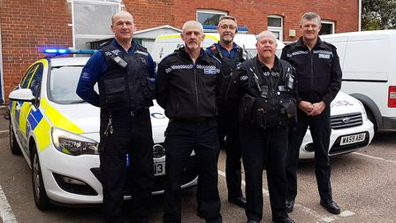 The Sidmouth policing team - PCSOs Phil Thomas, Steve Blanchford-Cox and Dave Keeler, PC Steve Lee a
