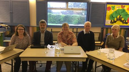 The new West Hill Parish Council held its first meeting last week, from left to right Councillors Je