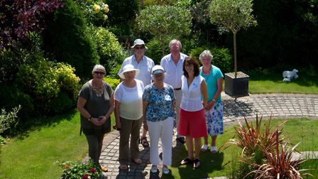 Veronica Woods in her garden 'Runnymeade' with Sue Maynard, Cheryl Allen (sidmouth in bloom), Andrea