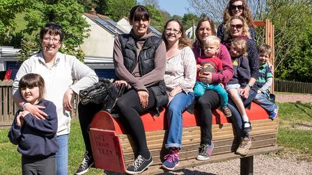 Abi Fuell with her daughter Rachel, on the hobby horse is Emily Hughes, Andrea Bass, Tina Salter, N