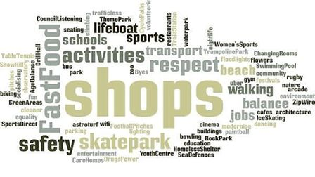 A 'word cloud' indicating the key themes raised in the children and young people survey for the Sid