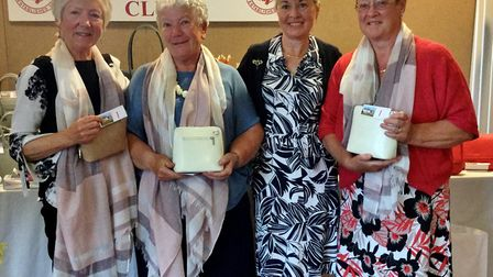 Honiton ladies Open, home team winners with the laldy captain.