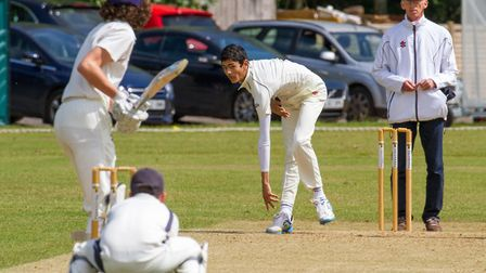 Ashok Prasad bowling for Ottery 2nds at home to Paington. Ref shsp 20-17TI 3071. Picture: Terry Ife