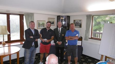 The winners of Sidmouth Golf Club men's three-man team Open competition. (From the left) Neil Hollan