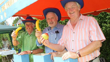 The Human Fruit Machine proved popular at the Sidbury village fete on Saturday. Photo by Simon Horn.