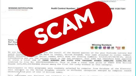 A scam letter claimed to be from the People's Postcode Lottery