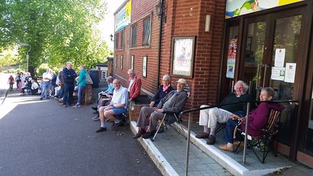 Theatre-lovers queued down the road outside the Manor Pavilion Theatre, Sidmouth.
