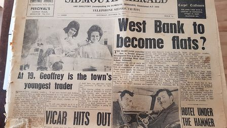 Hairdresser Geoffrey Hadley with his front page from 1972