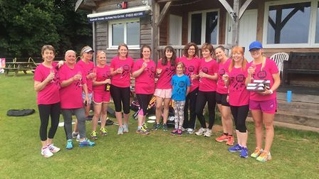 Sidmouth ladies before their two matches at Heathcoat, both of which they won in what was their firs