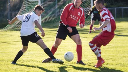 Action from the Sidmouth Town Sam Marriott Cup match between the Town coaches and the Town Under-16