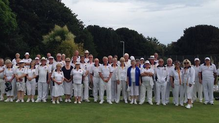 Sidmouth bowlers with visitors Norwest Midsomer Norton