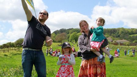 The Young Family at the Pentecost kite flying event on Peak Hill. Ref shs 20-16TI 1097. Picture: Ter