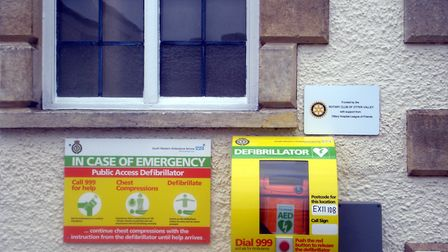 The newly installed defibrillator outside Ottery library.