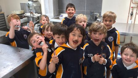 Year one pupils from St John's School learnt about how chocolate is made at Chocaholics Paradise in