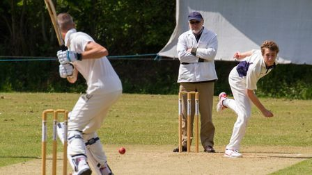 Luke Tierney bowling for Ottery 2nds at home to Paington. Ref shsp 20-17TI 3039. Picture: Terry Ife