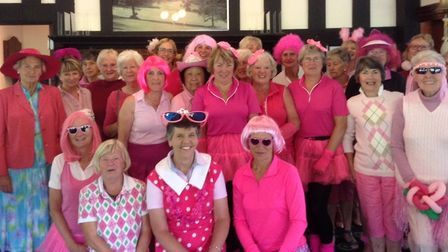 Sidmouth lady golfers at the pink themed charity competition in memory of Coral Roberts