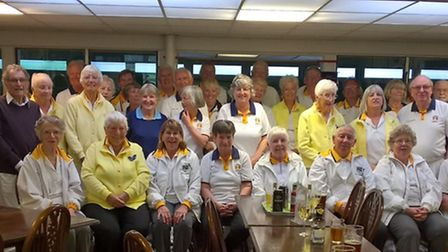 Sidmouth bowlers with the visitors, touring side Ashcombe Park