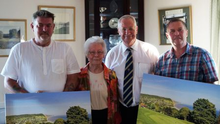 (left to right) Sean Murphy, captain's Mum Jill Powell, club captain Richard Powell and Martyn White