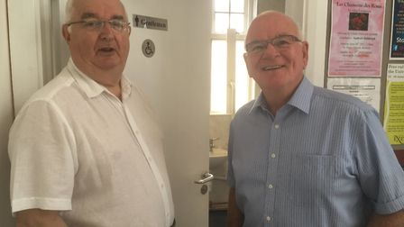 Councillor Ian Holmes and Mayor Glyn Dobson outside the new toilet facilities in Ottery.