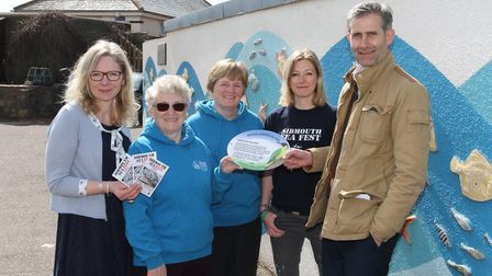 Sidmouth Sea Fest organisers Mary and Kay Bagwell, Coco Hodgkinson and Louise Cole, with Chris Woodr