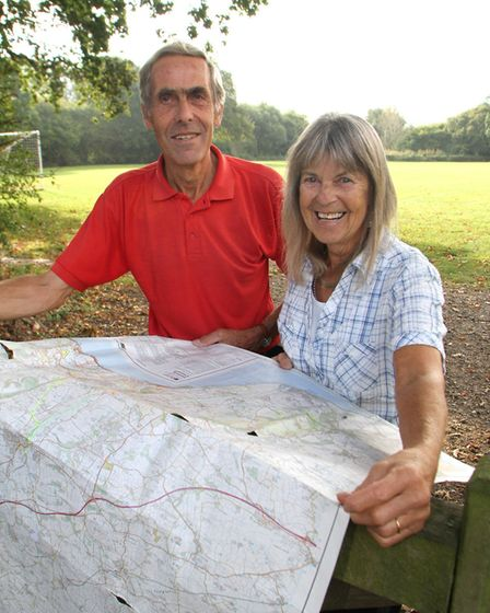 Sidmouth and East Devon Walking Festival organisers Ted Swan and Norma Self. Ref shs 6142-40-14AW. P