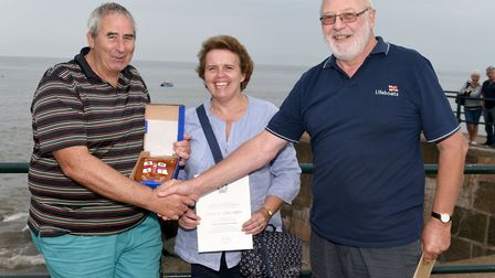 Oliver Salter, pictured with his wife Adele was presented with an award for his efforts fund raising