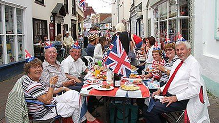 Sidmouth street party to celebrate the Queen's 90th birthday.