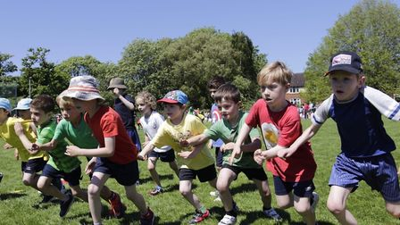 Pupils at Sidmouth Primary School take part in sports day Credit: Sarah Hall