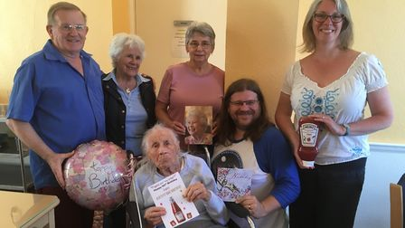 Topsy Hindley turned 105 and was joined by members of her family.