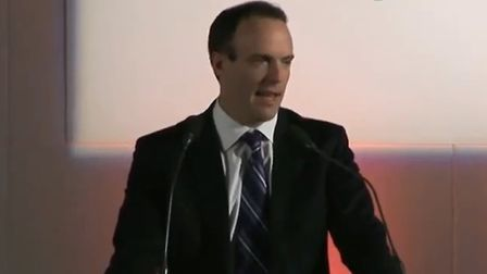 Brexiteer Dominic Raab speaks at a People's Pledge event. Photograph: YouTube.