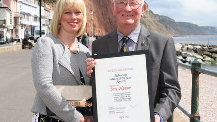 Sidmouth Citizen of the Year Dave O'Connor with his daughter Pauline Denning. Ref shs 17-16SH 2512.