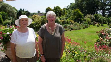 Sue Maynard in her garden with Cheryl Allen of Sidmouth In Bloom for Sidmouth's secret gardens. Ref