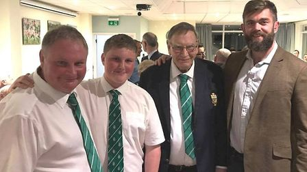 Derek Marchant with his son Peter, grandson Jack and Exeter Chief player Geoff Parling