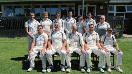 Ottery St Mary 1st XI (Back row, left to right) Jody Clements, Joe Henkus, Henry Mutter, Rob Crabb,