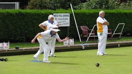 Action from the Ottery St Mary Bowls Club Triples Weekend
