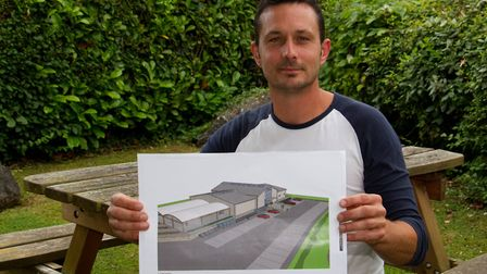 James Trevett with his garden centre plan. Ref mhh 27 17TI 6433. Picture: Terry Ife