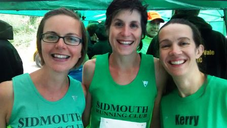 The Sidmouth ladies team of (left to right) Els Laurays, Charlie Forrer and Kerry Boyle, who were th