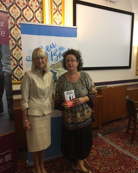 Jane Corry, Sidmouth Literary Festival's writer in residence, interviewing best-selling author Sophi