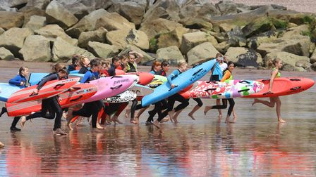 The Sidmouth Surf Life Saving Club competition. Picture: Simon Horn