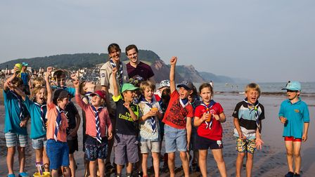 1st Sid Vale Beaver colony exploring Sidmouth beach and earning their Explorer badge. Picture: Sarah