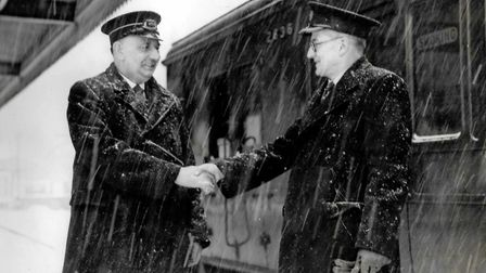 Mr Greening bidding farewell to long-serving Sidmouth Station employee Jack Foyle