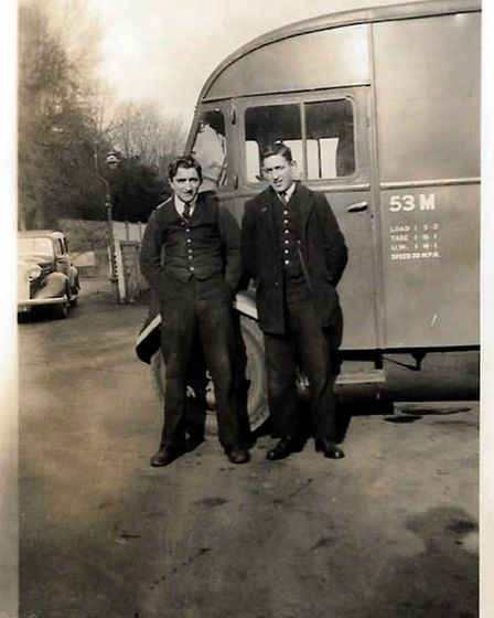 Lionel Patch and Dick Morton at Sidmouth Station in 1946