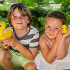 Alfie and Poppy Harvey at the Sidmouth Lions Great Duck Derby. Ref shs 28-17TI 7061. Picture: Terry